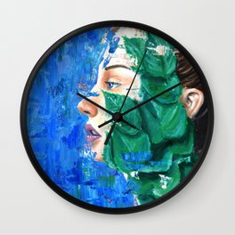 Leaves and face Wall Clock