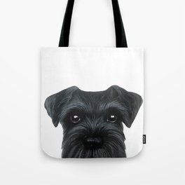 New Black Schnauzer, Dog illustration original painting print Tote Bag