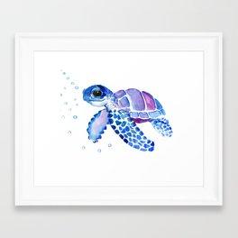 Blue Purple Sea Turtle, Turtle for nursery Framed Art Print