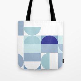 Minimal Bauhaus Semi Circle Geometric Pattern 3 - Blue #buyart #society6 #minimalart Tote Bag