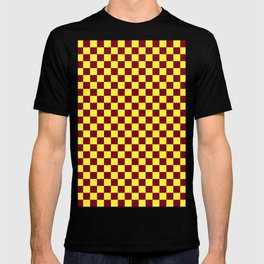 Electric Yellow and Burgundy Red Checkerboard T-shirt
