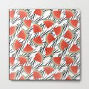 Watermelon slices on white black stripes on the background. by marinaklykva