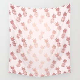 Rose Gold Pineapple Pattern Wall Tapestry