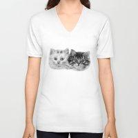 kittens V-neck T-shirts featuring Kittens by Danguole Serstinskaja