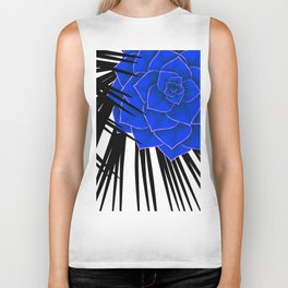 Big Bold Indigo Echeveria Illustration Biker Tank