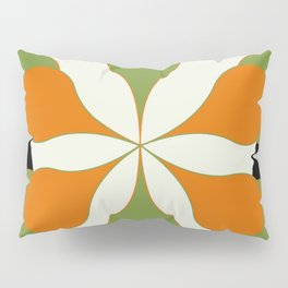 Mid-Century Modern Art 1.4 - Green & Orange Flower Pillow Sham