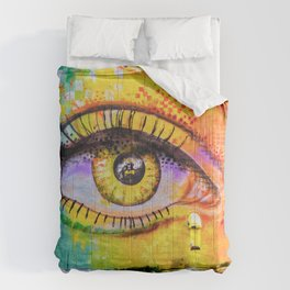 Graffiti Crying Eye Comforters