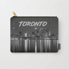 Toronto Canada Nighttime Skyline over Water Black and White Carry-All Pouch