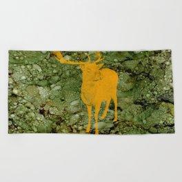 Deer on Green Camo Beach Towel