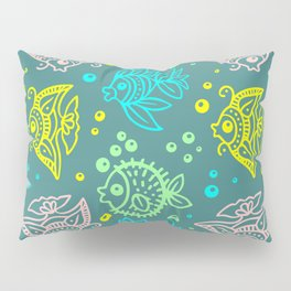 Fishes Batik Style Seamless Pattern Pillow Sham