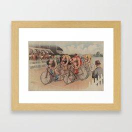 Vintage Cycling Race Illustration (1895) Framed Art Print