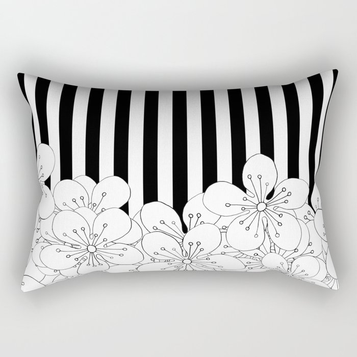 Cherry Blossom Stripes - In Memory of Mackenzie Rectangular Pillow