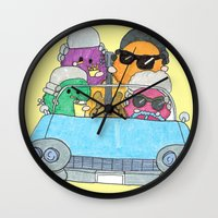 vampire weekend Wall Clocks featuring Holiday Vampire Weekend by Pily Clix