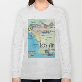 Greater Los Angeles Fine Art Print Retro Vintage Map with Touristic Highlights in colorful retro pri Long Sleeve T-shirt