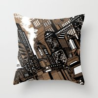 cityscape Throw Pillows featuring Cityscape by David Miley
