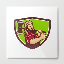 Lumberjack Axe Shield Retro Metal Print