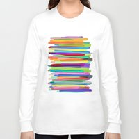 watercolor Long Sleeve T-shirts featuring Colorful Stripes 1 by Mareike Böhmer
