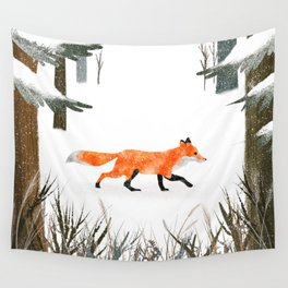 Fox In A Late Winter Snowfall Wall Tapestry