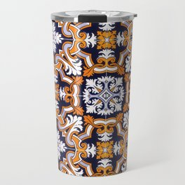 Portuguese Tiles Azulejos Blue Orange Pattern Travel Mug