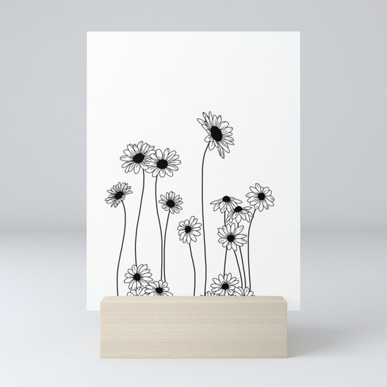 Minimal line drawing of daisy flowers by thecolourstudy