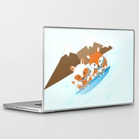 skiing Laptop & iPad Skins featuring Skiing by HK Chik