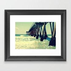 Hermosa Beach Pier Heart Bokeh Framed Art Print