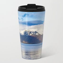 Small, Yellow Lighthouse in Front of Mountain in Reykjavik, Iceland Travel Mug
