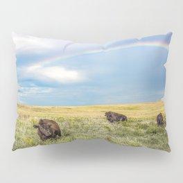 Rainbows and Bison - Buffalo on the Tallgrass Prairies of Oklahoma Pillow Sham