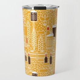 Beer Pattern | Oktoberfest Hops Malt Brewery Travel Mug