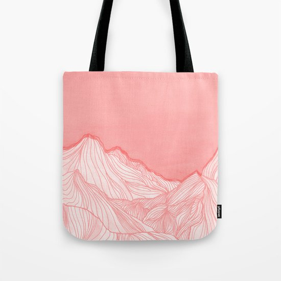 Lines in the mountains - pink Tote Bag