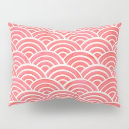Japanese Seigaiha Wave Pattern – Coral Pillow Sham