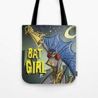 batgirl Tote Bags featuring Batgirl by Joe Badon