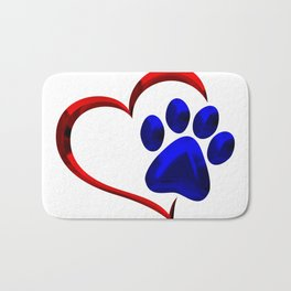 Paw Print on My Heart Bath Mat