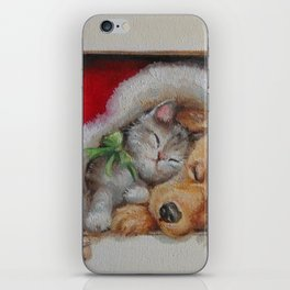 Merry Christmas Cute pets Dog and Cat sleeping Christmas illustration iPhone Skin