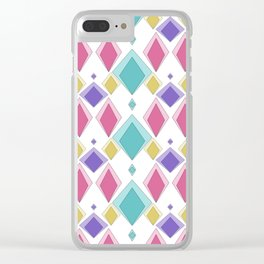 Multi-colored diamonds . Retro . Clear iPhone Case