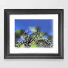 white mandalas on blue Framed Art Print