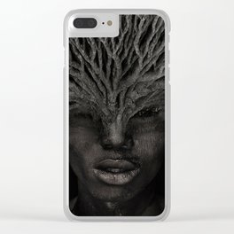Tree man. Double exposure portrait by T.Amrein Clear iPhone Case
