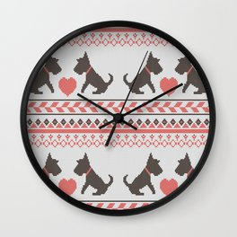 Knitted New Year 2018 retro pattern with dogs Wall Clock