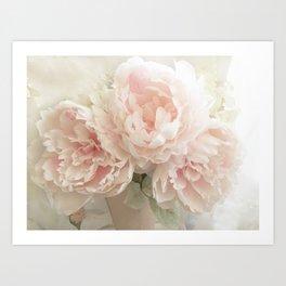 Shabby Chic Cottage Pastel Pink Peony Prints and Peony Home Decor Art Print