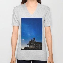 Dreaming under starry sky Unisex V-Neck