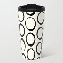 Polka Dots Circles Tribal Black and White Travel Mug