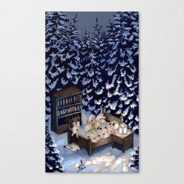 Sleepy Snow Rabbits Canvas Print