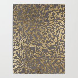 Faux gold foil abstract geometric on grey concrete cement Poster