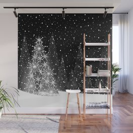 Elegant Black and White Christmas Trees Holiday Pattern Wall Mural