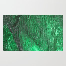 Green Abstract Sparkly Design Rug