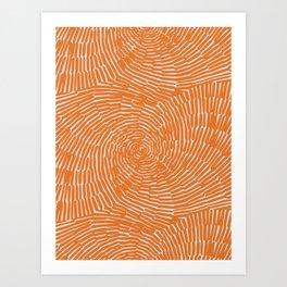 Orange minimal line art Art Print