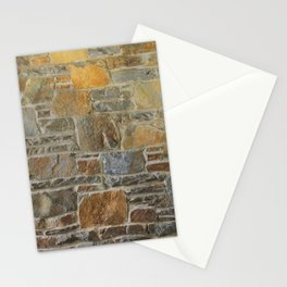 Avondale Brown Stone Wall and Mortar Texture Photography Stationery Cards