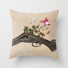 One Gun, One Rose, Two Moths Throw Pillow