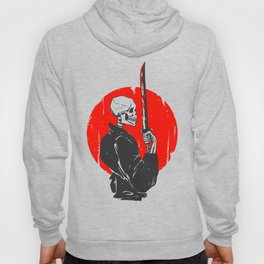 Samurai skull illustration -  black and white Hoody