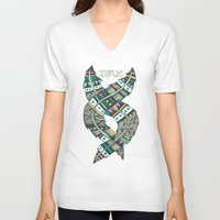 feathers V-neck T-shirts featuring Soulmate Feathers by Pom Graphic Design